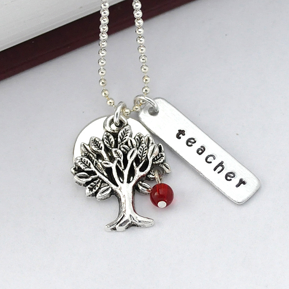 Teacher necklace, apple tree necklace, teacher appreciation necklace by ZADOO