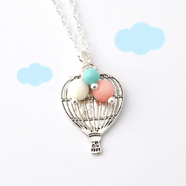 hot air balloon necklace - love is in the air - Up Up and Away - pastel beads - cute
