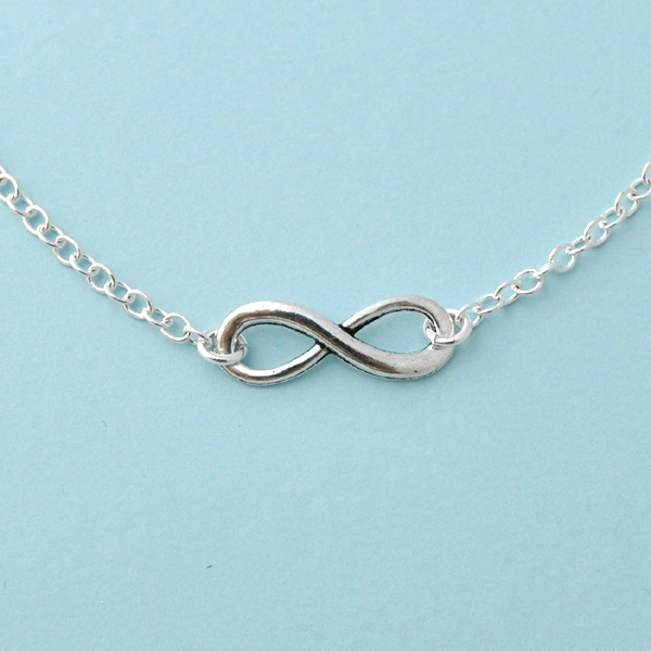 Silver infinity Necklace, everyday Necklace, infinity jewelry, everlasting lover, enternity, gift for BFF