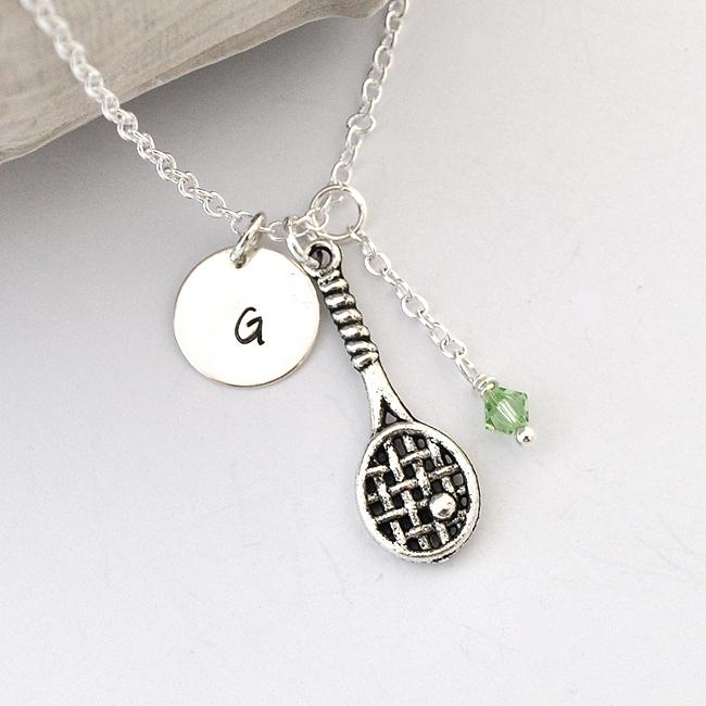 tennis necklace birthstone initial necklace monogram
